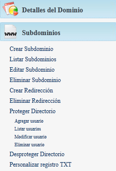 hosting subdominios